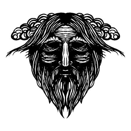 Ancient viking head graphics and design elements. Viking pride text. Odin. Vector vintage illustration.