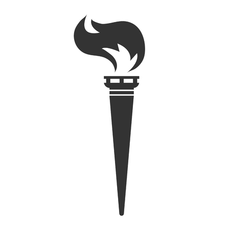 Fire torch black vector flat icon