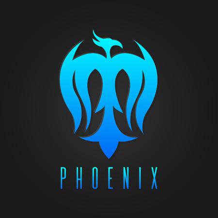 Phoenix bird logotype template, freedom, development creativity concept