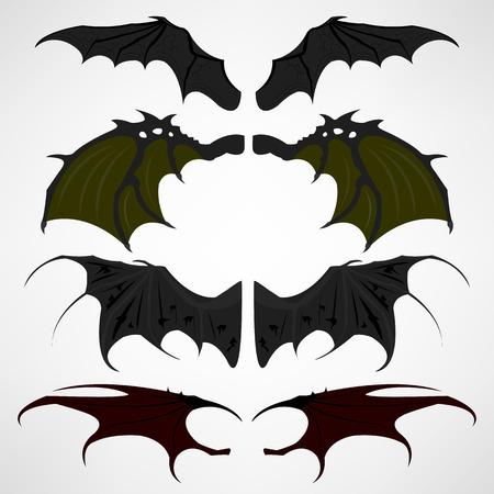 Vector cartoon set of black dark devils wings 일러스트