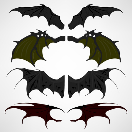 Vector cartoon set of black dark devils wings Illustration