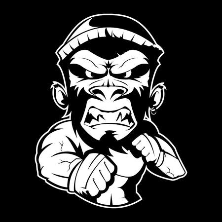 Selvaggia giungla rotonda combattere la scimmia pazza Archivio Fotografico - 82834406