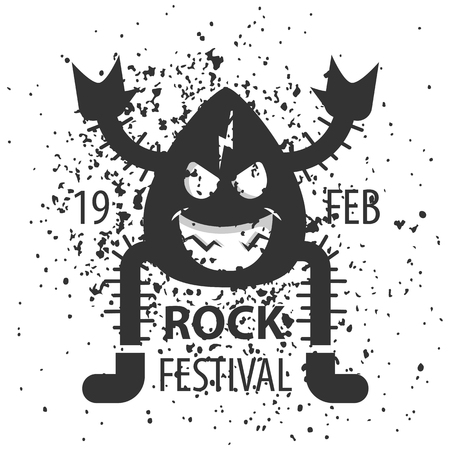 Rock festival poster. Rock and Roll sign.