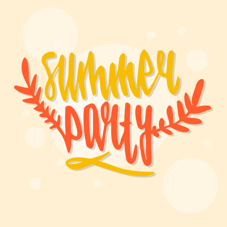 Modern calligraphic poster design with flat palm trees on bright colorful watercolor splash background. Vivid, cheerful, optimistic summer flyer, poster or fabric print in vector Illustration