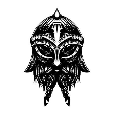Ancient viking head graphics and design elements. Viking pride text Odin in vector vintage illustration.
