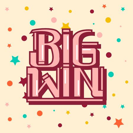Vector graphic calligraphy big win lettering congrats
