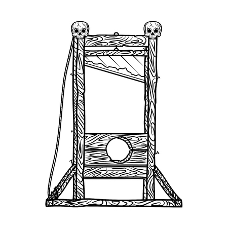 Guillotine vector black illustration with skulls on a white background