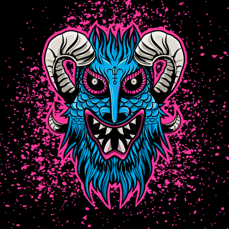 Pink blue angry devil 666 satan mascote flat design
