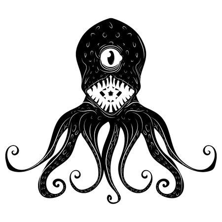 Octopus. Vector black engraving vintage illustrations. Isolated on white background. 向量圖像