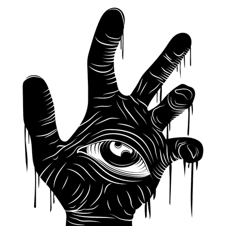 Hand and eye black vector line illustration