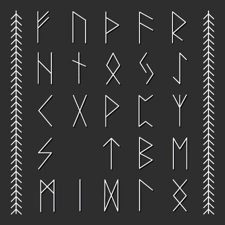 Set of Old Norse Scandinavian runes. Runic alphabet, futhark.