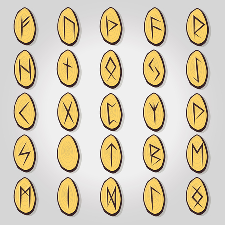 Ancient occult symbols, vikings letters on white, rune font. Vector illustration with light texture. Ancient norse letter.
