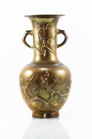 antique vase: Antique brass vase on white background