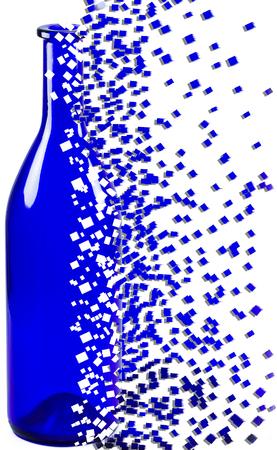 shatter: Shattered blue bottle on white background
