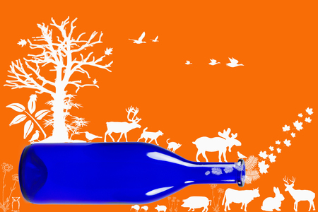 rainbow cocktail: Blue bottle with animals, plants and trees isolated on orange background