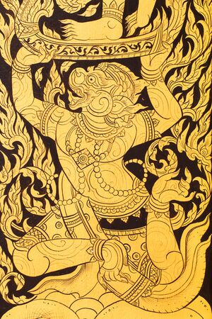 temple thailand: Antique painting on the door in temple in Thailand Stock Photo