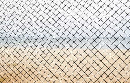 sea fishing: Fishing net on blur sea and beach background