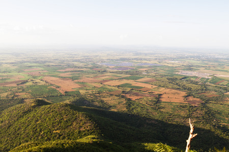birds eye: Birds eye view from the mountain in Lopburi province, Thailand