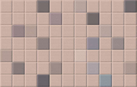mixed wallpaper: Brown vintage square mosaic tiles wall abstract background Stock Photo