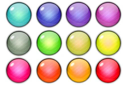 shiny buttons: Colorful glossy shiny circle buttons on white background