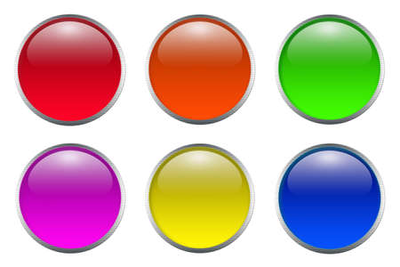 shiny buttons: Colorful glossy shiny circle buttons with frame on white background