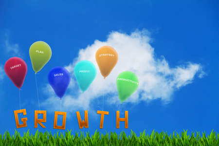 tied up: The word growth on grass tied up to colorful balloons with wordings and cloudy blue sky background