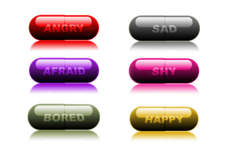 representative: Colorful medical pills on white background, representative of feelings and emotions