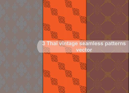 thai style: Vintage thai style seamless patterns vector abstract background, seamless patterns in swatch