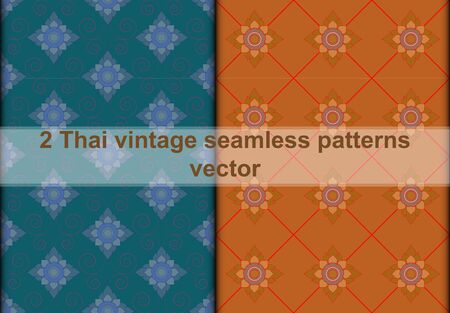 swatch: Thai vintage seamless pattern vector abstract background, with seamless patterns in swatch