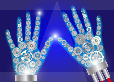chrome man: Hands made from gears, technology concept vector illustration