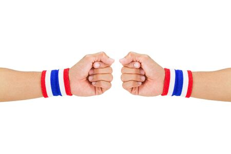 wristbands: Two Thai national color cloth wristbands