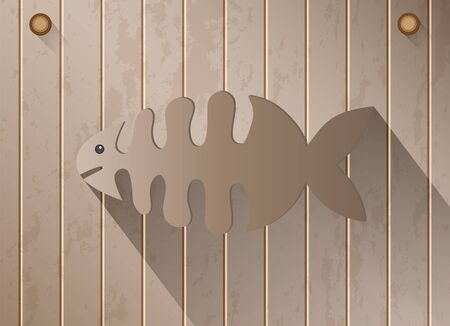 skeleton of fish: Skeleton fish with shadow on brown wooden texture background, vector illustration