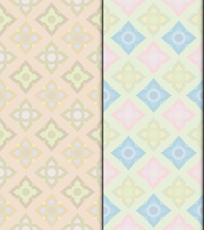 Pastel Thai vintage seamless patterns vector abstract background, with seamless patterns in swatch