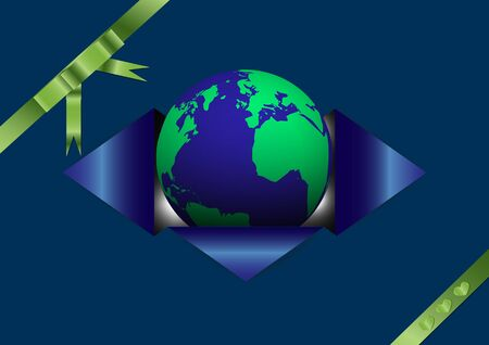 heart shaped: Openning globe from blue envelope tied up with green ribbon decorated with small heart shaped ribbon, earth day concept