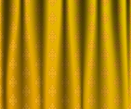 wrinkle: Golden Thai vintage wrinkle curtain, vector pattern abstract background