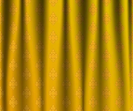 thai silk: Golden Thai vintage wrinkle curtain, vector pattern abstract background