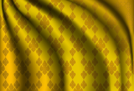 wrinkle: Golden Thai vintage wrinkle cloth texture, vector pattern abstract background