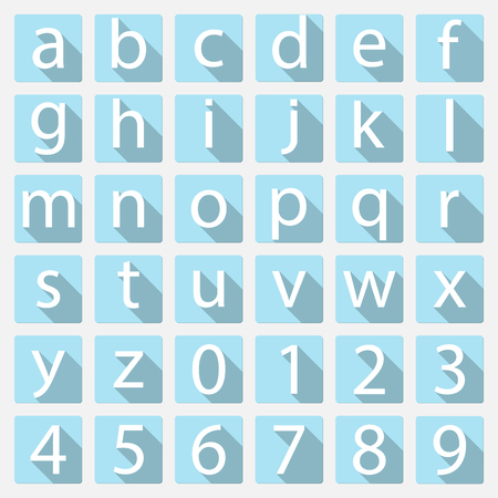 lower case: White on blue number and lower case alphabet icon with long shadow, vector illustration Illustration