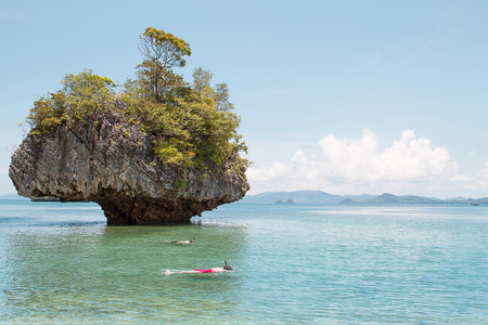 skin diving: Skin diving around island in south of Thailand