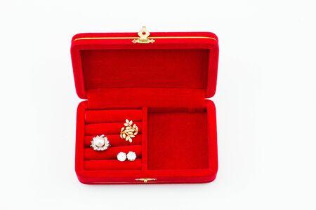 red velvet ring box on white background stock photo 68641363 - Christmas Ornament Ring Box