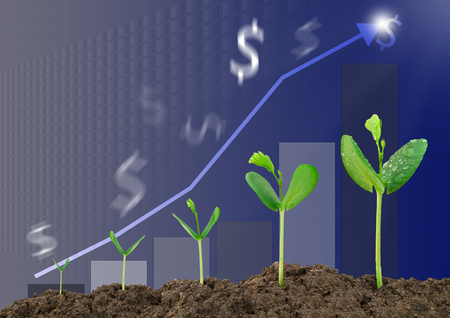 Growing sprouts with bar graph and blurred dollar sign background, business concept Stock Photo