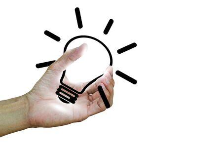 Mans hand holding light bulb on white background, having an idea concept
