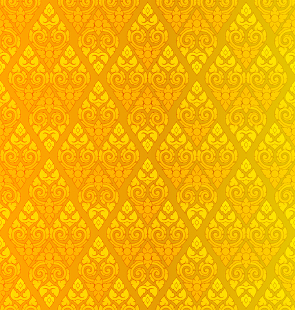 Golden Thai vintage pattern vector abstract background Imagens