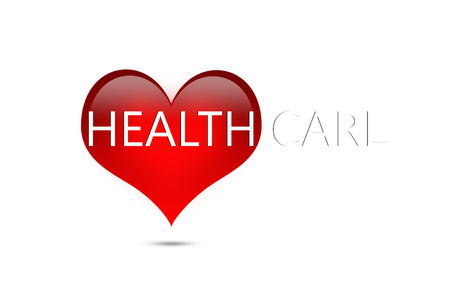 health and fitness: Letter healthcare on red heart on white background, healthcare concept
