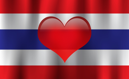 Red heart on waving national Thailand flag background Stock Photo