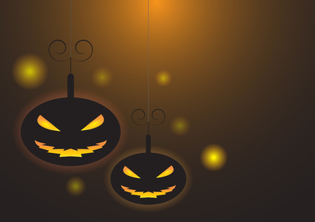 Horror pumkins halloween concept vector illustration Illustration