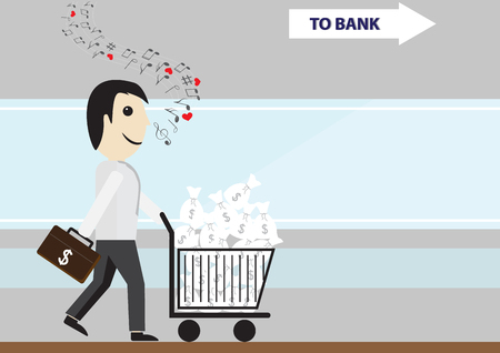 Business man holding briefcase with dollar sign whistling with musical notes and carrying dollar bags in trolley to bank , successful business concept Illustration
