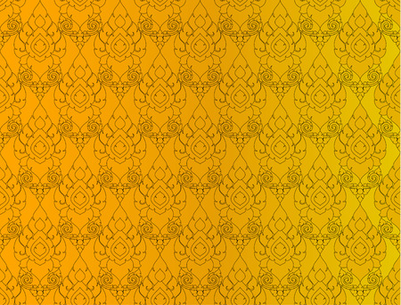 Golden Thai vintage pattern vector abstract background Illustration