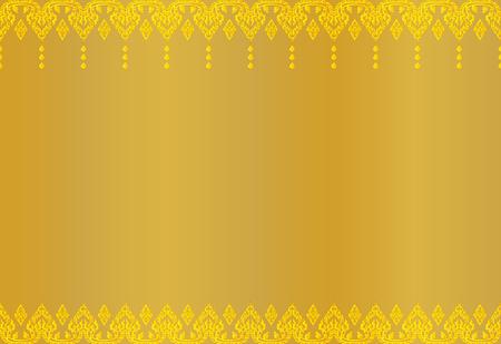 Abstrait motif vintage doré thaïlandais, illustration vectorielle.