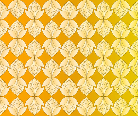 Thai golden lotus flowers vintage pattern vector abstract background